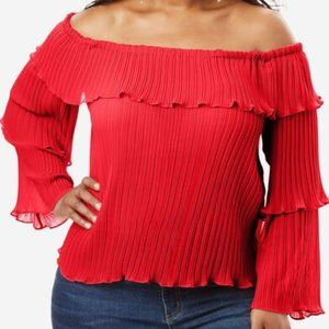Roaman's Off The Shoulder Pleated Blouse Bell Sleeve Size 26W